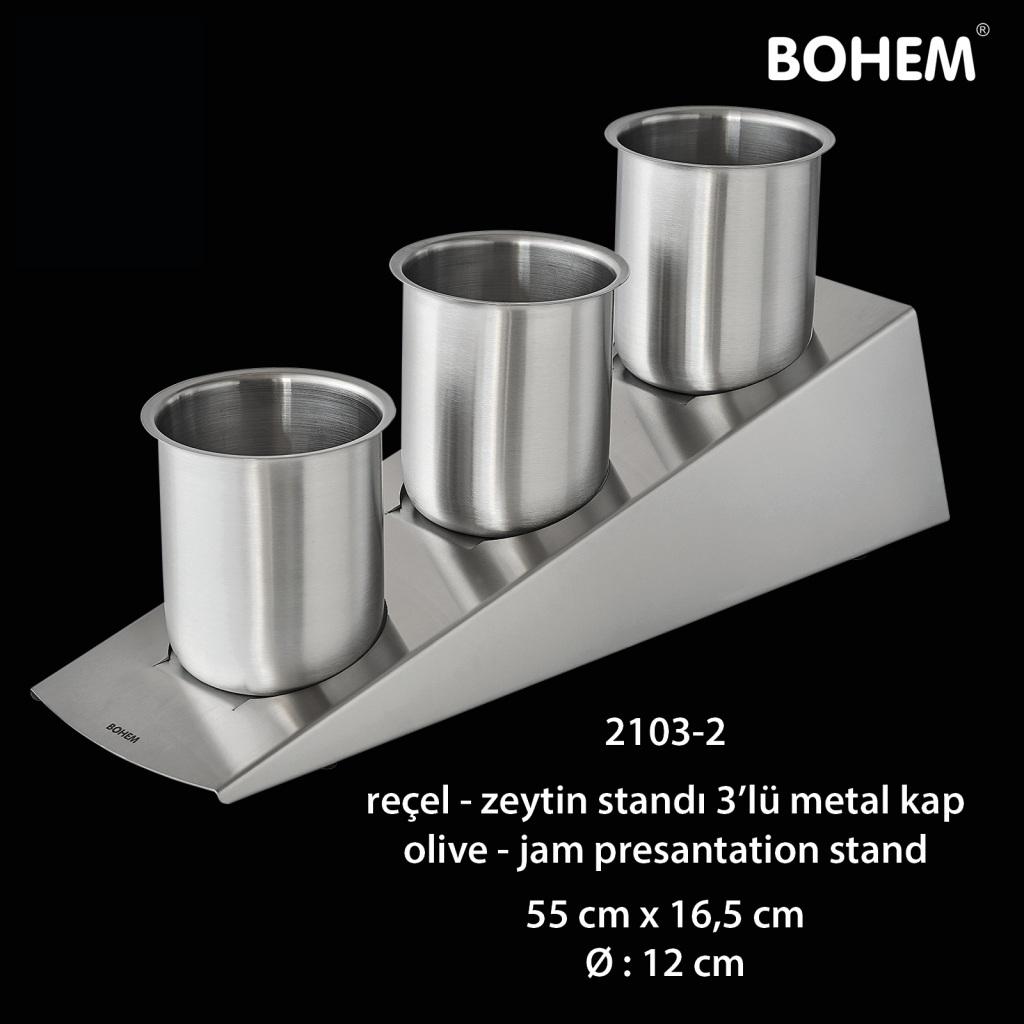 Reçel, Zeytin Standı 3 lü Metal Kap