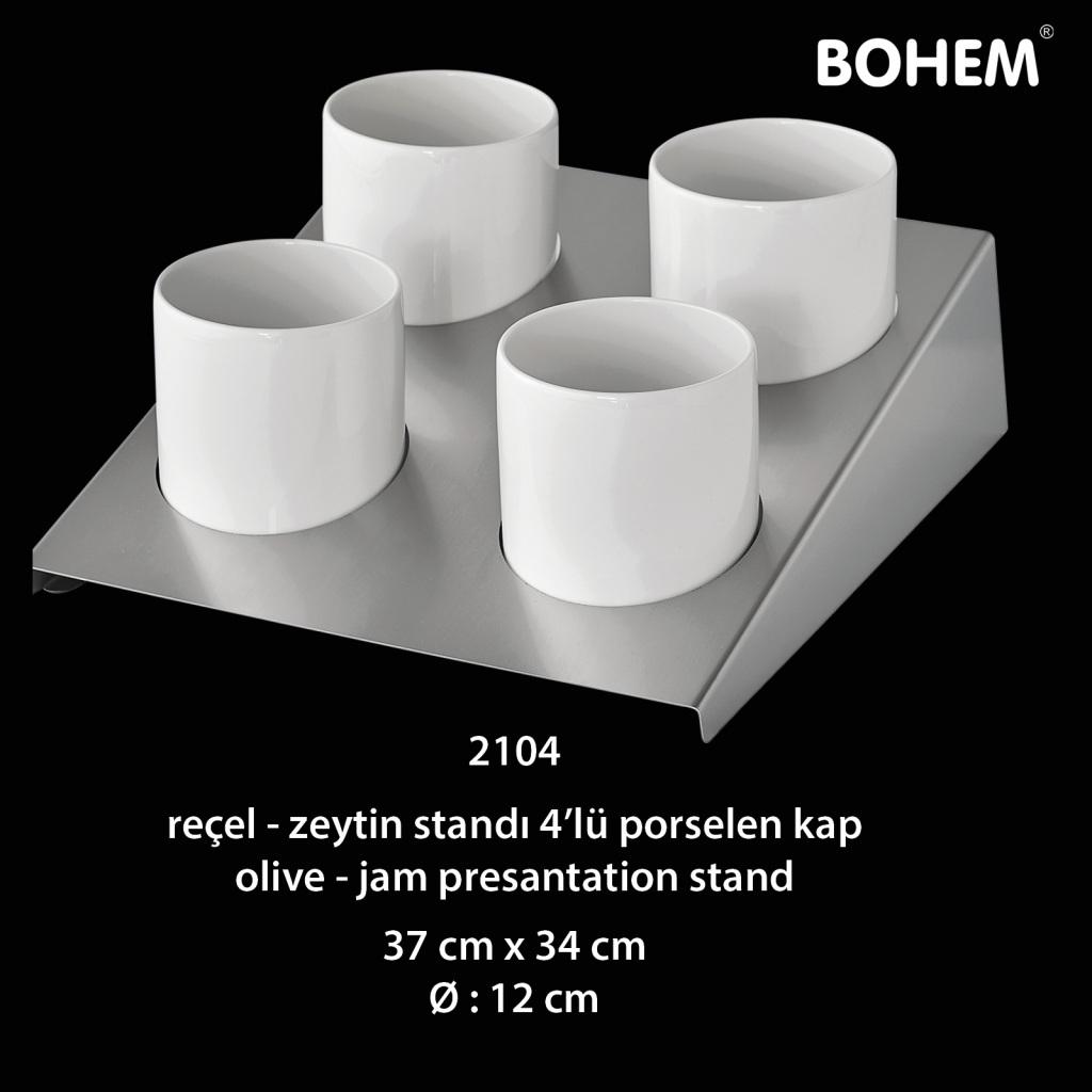 Reçel, Zeytin Standı 4 lü Porselen Kap