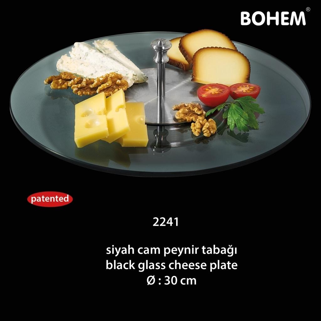 Siyah Cam Peynir Tabağı